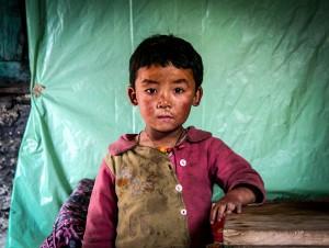 A young Tibetan boy in the Delekling Tibetan Refugee Settlement